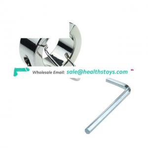Heavy Stainless Steel Ball Scrotum Stretcher Ring Metal Locking