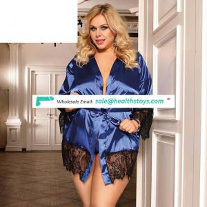 High quality plus size hot sexy women silk satin sleepwear sets