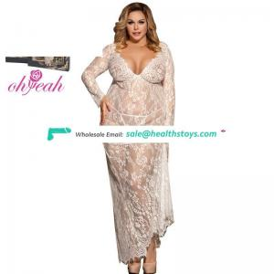 Hot Selling Factory Price Two Color Sex Lace Long Nightgown
