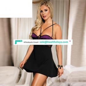 Hot sale black lace patterned lingerie sexkiss