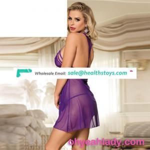 Hot sale mesh purple lingerie sexy babydoll