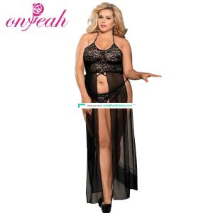 Hot sell black long  plus size lingerie gown