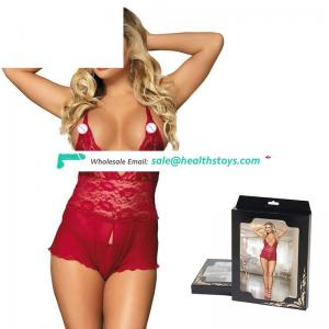 Hot sell lace and mesh crotchless lingerie