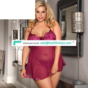 In stock lady hot mature plus size babydoll sexy transparent