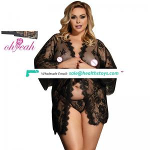 In stock see through black women Lace plus size Sleepwear