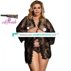In stock see through black women Lace plus size Sleepwear