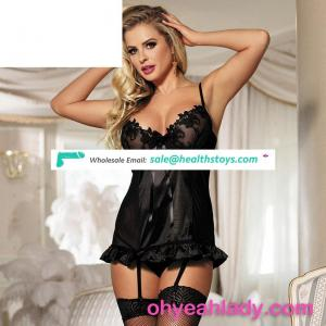 Instock Black Girls Sexy Nighty with Low MOQ