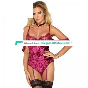 Lace sleeves lace cup high quality garter sexy teddy lingerie