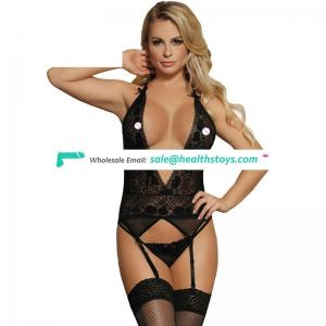 Lady fashion open black hot mature women sexy babydoll
