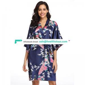 Latest Design Flower Sexy Ladies  Satin Wrap Home Pajamas Babydoll