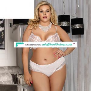 Latest Design Mature Woman Plus Size white  Lace Temptation  Bralette Lingerie Set