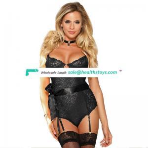 Latest Design Women Exquisite  Can ODM Black Lace Teddy Lingerie