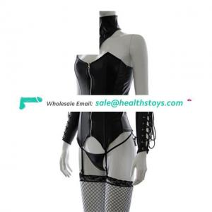 Leather Bondage Clothes Black Fetish Garter Cervical Collar Cuff Patent PU Clothing Stage Clothes