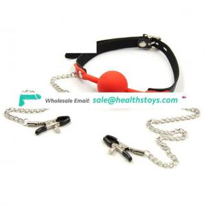 Leather Mouth Gag Ball Oral With Breast Nipple Clamps With Chain Clips Adult Fetish Bondage Harness Erotic Toys For Women