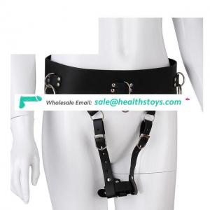 Leather T-back Straps-on Panties With Vibrator Holder Women Thong Pants Restraint Kit