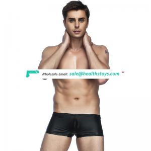 Leather good quality wholesale mature sexy black underwear for men