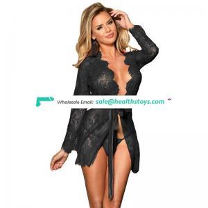 Low MOQ Elegant Wholesale In stock plus size  hot sexy womens lace sleepwear