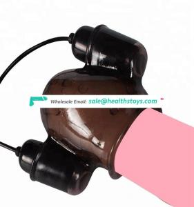 Male Penis Magic Massager Products Glans Lasting Trainer Vibrator with 2 Caps