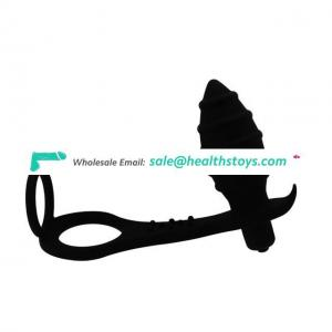 Male Prostate Massager Anal Penis Ring Silicone Vibrating Butt Plug Cock Ring Anal Toy for Men