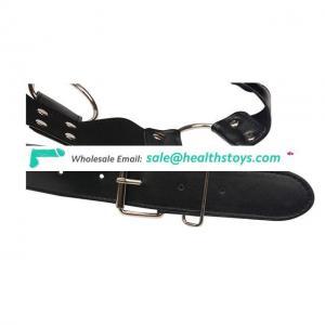 Men's Chest Bulldog Harness Black Leather 4 Strap Reversible For Male Bondage Kit