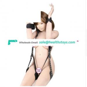 Naked Bound Sponge Bondage Restraint Open Leg Thigh Locking Wrist Handcuffs Fetish Harness For Women