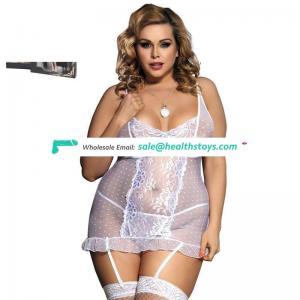 New Design  Plus Size Women White Polka Dot Sheer White Babydoll