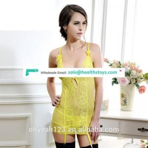 New design yellow lace sexy lingerie sexy underwear