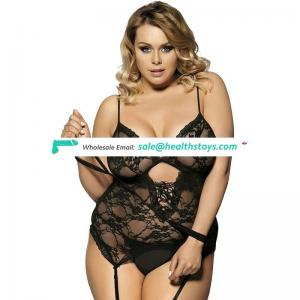 New fashion Plus Size Black Sexy Lace Teddy Nighty