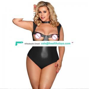 Newest design black faux leather  underwear erotic lingerie