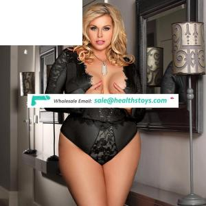 Open lace in stock sexy plus size babydoll lingerie