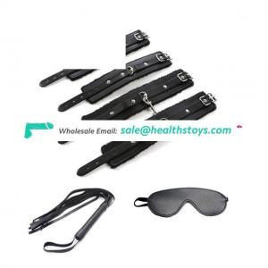 PU Leather Handcuffs Wrist Restraints adult Game Toys Slave Fetish Costumes Handcuffs With Eye Mask And Whip