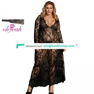 Plus Size Black Delicate Lace Transparent Sexy Long Sleepwear Nightgown