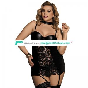 Plus Size Black Hot Mature Women Sexy Leather Babydoll Lingerie