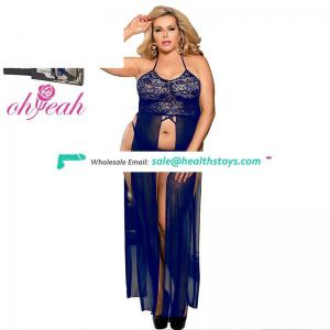 Plus Size Factory ODM Accepted Mature Women Sexy Blue Nightgown Babydoll