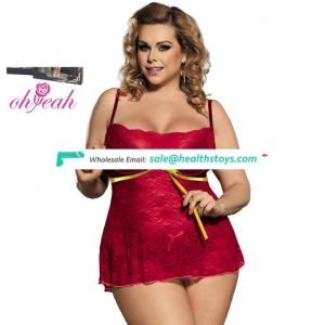 Plus Size Newest Style Red Mature Tube Women Lingerie Dress
