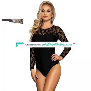 Plus Size Wholesale One Piece Long Sleeve Black Lace Teddy Lingerie