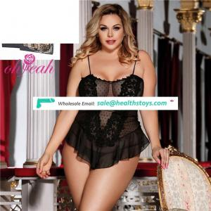Plus Size Wholesale Price Private Label Women Black Sexy Negligee Babydoll Lingerie