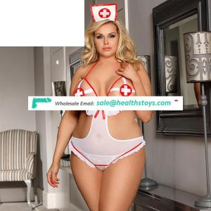 Plus Size sexy nurse costume sexy thong lace bodysuit lingerie