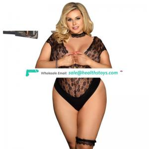 Plus size black lady sexy lingerie one-piece teddy