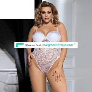 Plus size floral transparent women lace sexy bodysuit