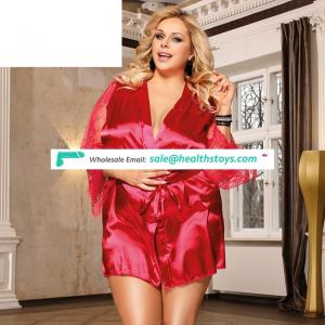 Plus size in stock red satin lace nightwear kimono