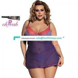 Plus size lace cup women negligee babydoll sexy lingerie