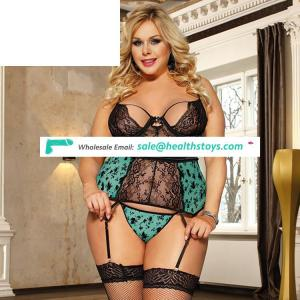 Plus size lace garter women lingerie sexy hot transparent