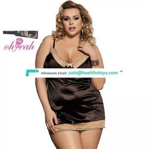 Plus size lingerie women satin chemise nightwear