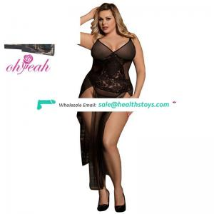 Plus size long black lace womens sexy sleepwear lingerie