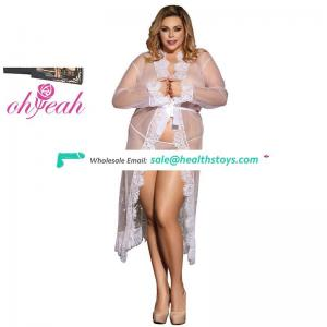 Plus size long sleeve transparent lace women maxi robe sexy