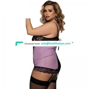Plus size open bust sexy night mature tube lingerie dress