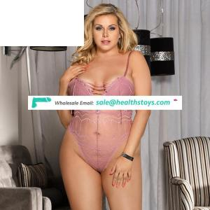 Plus size pink erotic teddy sexy transparent lingerie hot