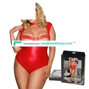 Plus size red leather open bust open front lingerie sexy teddy