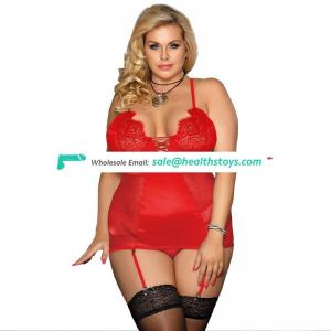 Plus size satin lace stitching garter belt lingerie